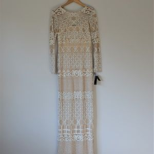 Adrianna Papell Ivory Long Sleeved Beaded Gown 6